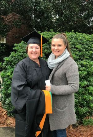 Tammy Hussey and her daughter, Rebecca Crawford, at UNC Wilmington graduation day